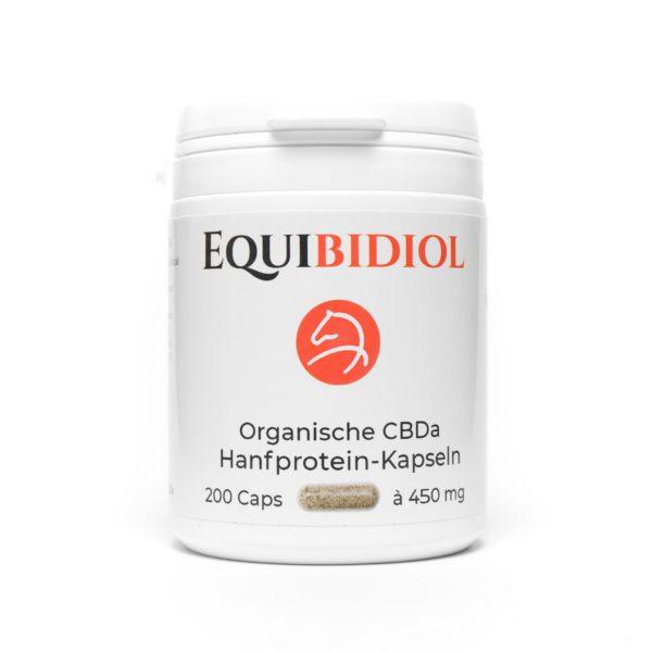Produktfoto einer Packung Equibidol CBDa Caps mit 200 Kapseln Inhalt