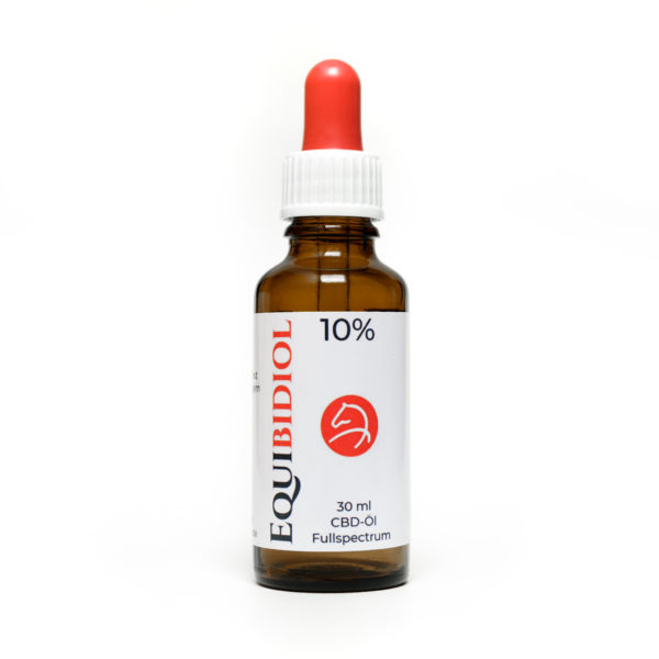 Produktfoto einer 30 ml Flaschen Equibidol 10% mit Pipette und rotem Gummi