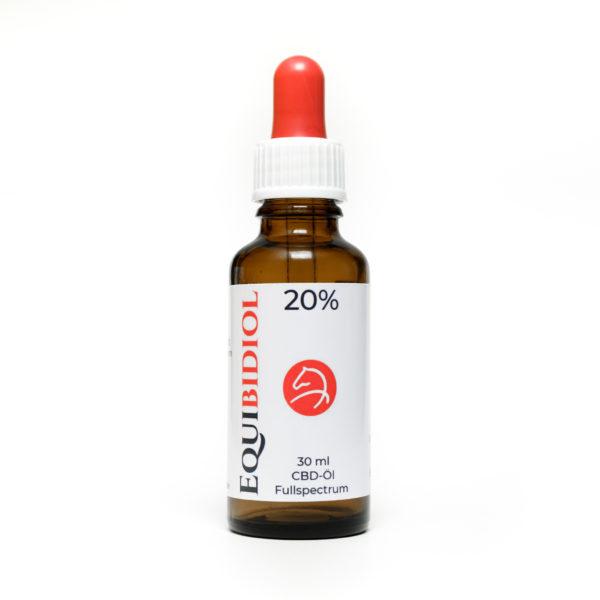 Produktfoto einer 30 ml Flasche Equibidol 20% mit Pipette und rotem Gummi