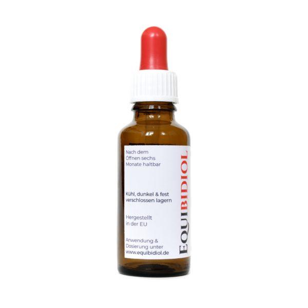 Produktfoto einer 30 ml Flasche Equibidol kollidiales Silberwasser mit Pipette und rotem Gummi Seitenansicht links